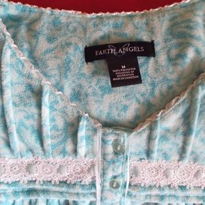 Women's Blue Pijama Style Gown Earth Angels Size M